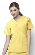 6056 Wonderwink Golf Mock Wrap Scrub Top - Yellow