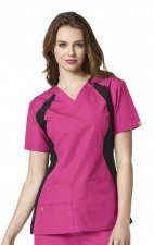 6096 WonderWink Origins Lima V-neck Scrub Tops - Hot Pink