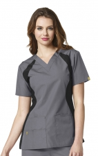 6096 WonderWink Origins Lima V-neck Scrub Tops - Pewter