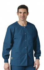 8006 WonderWink Origins Delta Unisex Round Neck Scrub Jackets - (Men's View) - Caribbean