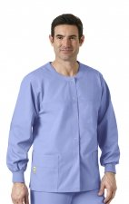 8006 WonderWink Origins Delta Unisex Round Neck Scrub Jackets - (Men's View) - Ceil Blue