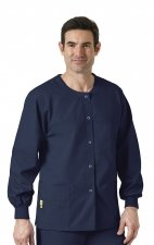 8006 WonderWink Origins Delta Unisex Round Neck Scrub Jackets - (Men's View) - Navy