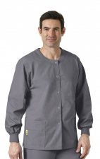 8006 WonderWink Origins Delta Unisex Round Neck Scrub Jackets - (Men's View) - Pewter