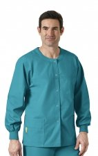 8006 WonderWink Origins Delta Unisex Round Neck Scrub Jackets - (Men's View) - Real Teal
