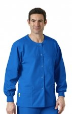 8006 WonderWink Origins Delta Unisex Round Neck Scrub Jackets - (Men's View) - Royal
