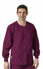 8006 WonderWink Origins Delta Unisex Round Neck Scrub Jackets - (Men's View) - Wine
