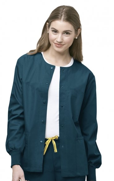 8006 WonderWink Origins Delta Unisex Round Neck Scrub Jackets - (Women's View)