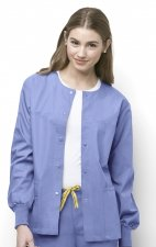 8006 WonderWink Origins Delta Unisex Round Neck Scrub Jackets - (Women's View) - Ceil Blue