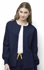8006 WonderWink Origins Delta Unisex Round Neck Scrub Jackets - (Women's View) - Navy