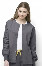 8006 WonderWink Origins Delta Unisex Round Neck Scrub Jackets - (Women's View) - Pewter