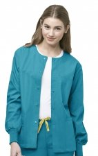 8006 WonderWink Origins Delta Unisex Round Neck Scrub Jackets - (Women's View) - Real Teal