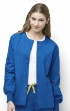 8006 WonderWink Origins Delta Unisex Round Neck Scrub Jackets - (Women's View) - Royal