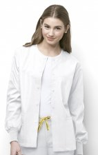 8006 WonderWink Origins Delta Unisex Round Neck Scrub Jackets - (Women's View) - White