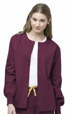 8006 WonderWink Origins Delta Unisex Round Neck Scrub Jackets - (Women's View) - Wine