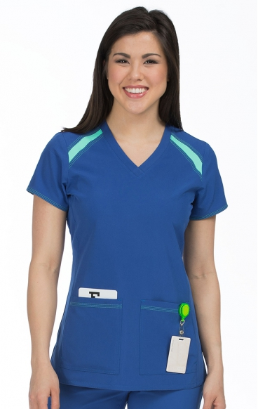 8545 Med Couture Activate Color Block V-neck Scrub Tops