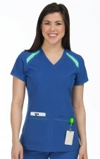8545 Med Couture Activate Color Block V-neck Scrub Tops - Galaxy Blue