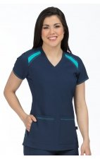 8545 Med Couture Activate Color Block V-neck Scrub Tops - Navy