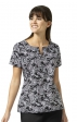 V6207 Vera Bradley Signature Sketch Scroll Notch Neck Print Scrub Tops