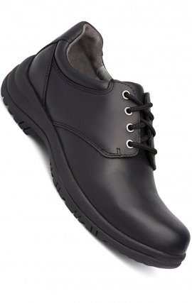 Men's Walker Lace-Up in Black Smooth Leather