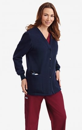 *FINAL SALE WJF350 Navy MOBB Button Front Fleece Warm-up Jacket