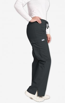 *FINAL SALE 316P-Petite CHARCOAL Low Rise Lace Up Flare Pant by MOBB