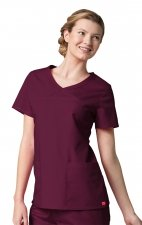 1726 Red Panda - Women's Curved Mock Wrap Top