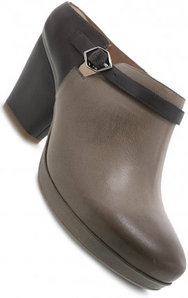Dansko Malissa Bootie Leather Stacked Heel - Stone Burnished Calf