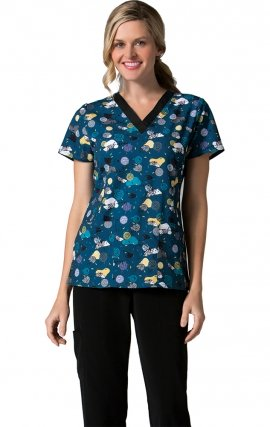 1727 Hedgehog - V-Neck Printed Top