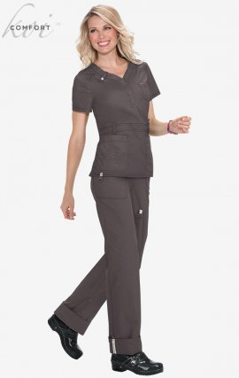 321 Koi Scrubs Kendall Top - Steel