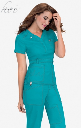 *FINAL SALE 321 Turquoise (Bright Teal) Koi Scrubs Kendall Top