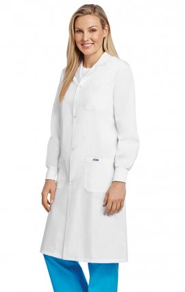 L507 Full Length Unisex Lab Coat Snap Front With Knitted Cuffs - Women's View