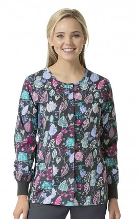 Autumness - Zoe + Chloe Round Neck Print Warm Up Scrub Jacket