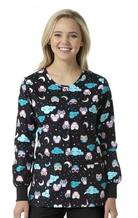 Nocturnal Friends - Zoe + Chloe Round Neck Print Warm Up Scrub Jacket