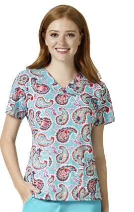 V6107 Dream Paisley Hawaiian - Vera Bradley V-neck Print Scrub Tops
