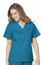 100 WonderWORK Unisex V-Neck Scrub Top (Women's View)