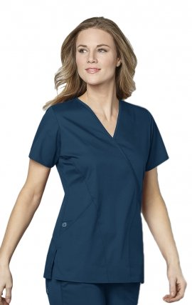 102 WonderWork Mock Wrap Scrub Top