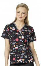 6027 WonderWink Origins Crossover Y-neck Print Scrub Tops - Coffee Before Talkie