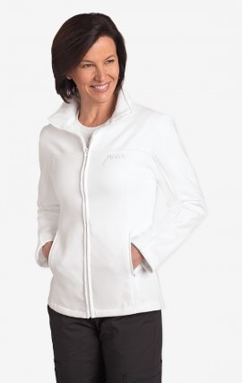 *FINAL SALE White WJF360 MOBB Fleece Zipper Warm-Up Jacket