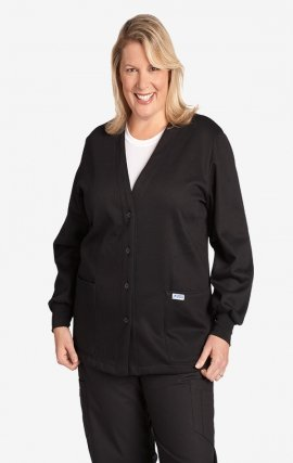 *FINAL SALE WJF350 Black MOBB Button Front Fleece Warm-up Jacket