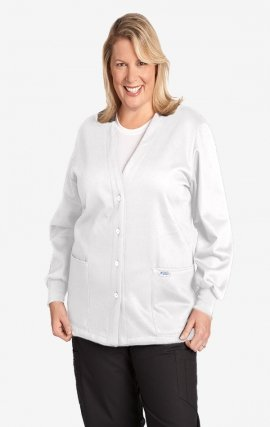 *FINAL SALE WJF350 White MOBB Button Front Fleece Warm-up Jacket