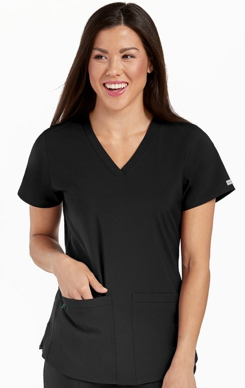 "Med Couture Energy Women/'s 8579 /""Serena/"" V-neck Racerback Knit Panel Scrub Top"