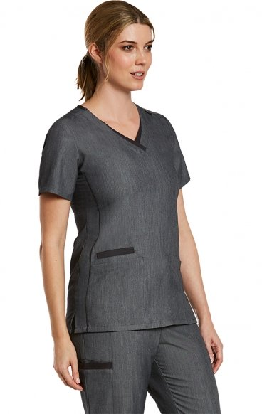 3901 Matrix Pro Contrast Double V-Neck Top - Maevn