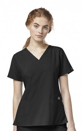 6555 W123 by WonderWink - Flex Back Stylized V-Neck Scrub Top