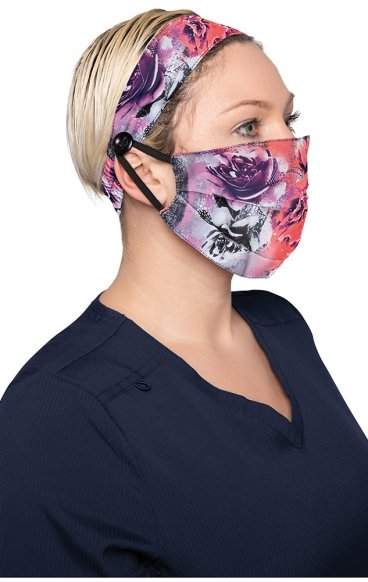 A162 koi Fashion Cloth Mask + Headband Set - Rose Frost - PM2.5 Replaceable Filter