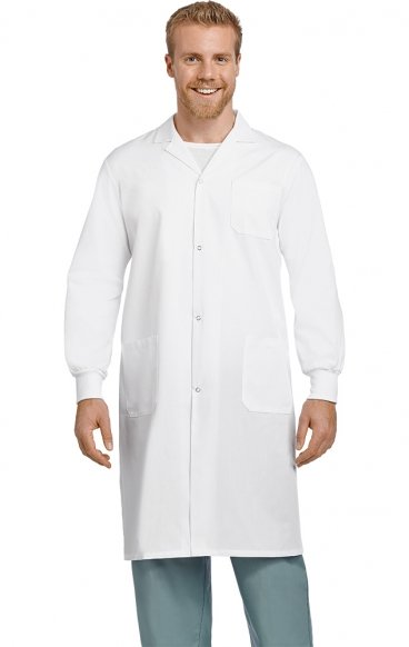 "*FINAL SALE AVLC02 Full-Length 42"" Unisex Lab Coat Snap-Front With Knitted Cuffs - Men's View"