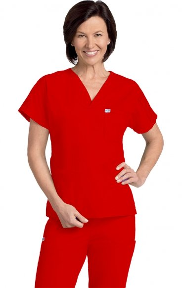 *FINAL SALE 306T RED MOBB Unisex V-Neck Scrub Top