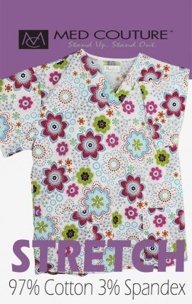 C7 Med Couture Morning Glory Crinkle Print Scrub Top