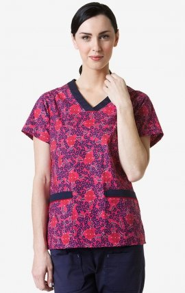 1207 CHANTILLY Print - Contrast V-Neck 2-Pocket Print Top