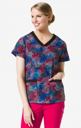 1207 CITY LIGHTS Print - Contrast V-Neck 2-Pocket Print Top