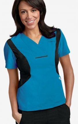 Active Flexi V-Neck Scrub Top by MOBB - Aqua/Black (AQ-BL)